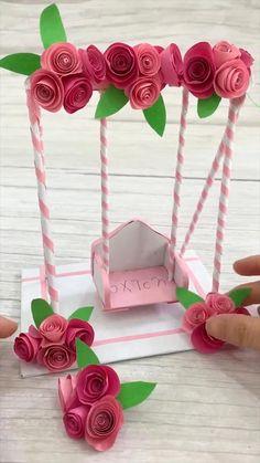 Paper Flowers Craft, Paper Crafts Origami, Paper Crafts For Kids, Flower Crafts, Origami Flowers, Diy Paper, Diy Crafts Hacks, Diy Crafts For Gifts, Diy Crafts Videos