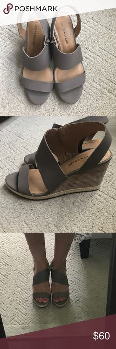 0030c21765 Lucky Brand Lowden Wedge sandal NWOT Lucky Brand Taupe leather wedge! Size  9.5! 3.5