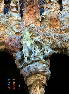 Nativity, La Sagrada Familia - Barcelona ~~ For more:  - ✯ http://www.pinterest.com/PinFantasy/arq-~-antoni-gaud%C3%AD/