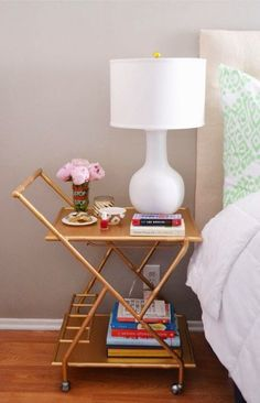 Turn a luxe bar cart into a bedside table.