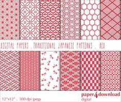 Traditional Japanese Patterns Red & White by paper4download