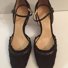 """Ann Taylor Loft brown suede heels Ann Taylor Loft brown suede heels.  Cute buckle around ankle.  2"""" heel.  Excellent condition other than minor wear on soles. Ann Taylor Shoes Heels"""