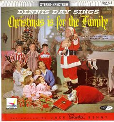 Dennis Day Christmas album -- posed with Day's family and Jack Benny as Santa Claus on the cover. The liner notes say Benny was sick and had a fever but came in to take the picture. 1950s Christmas, Christmas Cover, Christmas Albums, Christmas Music, Family Christmas, Christmas Humor, Xmas Music, Christmas Specials, Christmas Pics