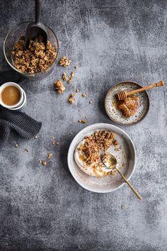 coffee, concrete, granola, breakfast, honey