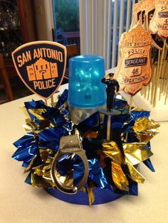 Police Officer Retirement Party Ideas Police Party DIY centerpiece for police officer retirement Retirement Party Centerpieces, Retirement Party Decorations, Table Centerpieces, Black Centerpieces, Table Decorations, Police Retirement Party, Retirement Parties, Retirement Ideas, Retirement Celebration