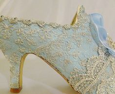 Marie Antoinette themed wedding shoes in pale blue and  silver sparkles