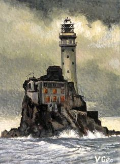 Original ACEO Fastnet Lighthouse - Mizen Head - Co. Cork, Ireland by V.Geo