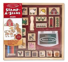 wooden scene stamping set melissa & doug http://wallartkids.com/kid-stamp-sets-by-melissa-doug