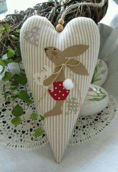 Bunny on a heart mini pillow ornament