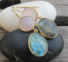 Pink Chalcdony with Labradorite makes an exquisite pair of earrings. Custom make your earring with Belesas!