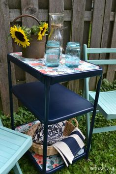 Upcycled Paper Lined Vintage Metal Cart - Refresh Living