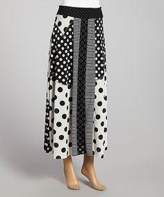 Look at this #zulilyfind! ANAC Black & White Polka Dot Maxi Skirt by ANAC #zulilyfinds