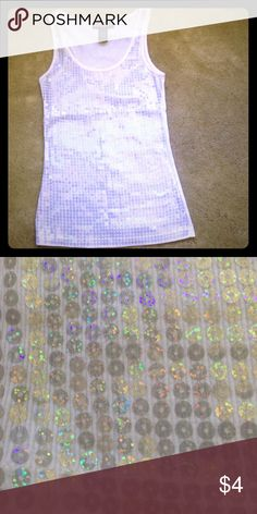 Sparkly white sequin tank top White sequin tank top for a fun and super sparkly basic. Sequin front, non sequined back. 100% cotton  Size M Say What? Tops Tank Tops