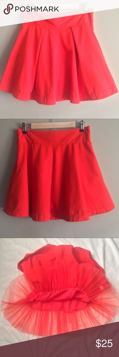ASOS Tomato Red Circle Skirt Great used condition. Has tulle underneath and a side zipper. More of a orange tomato red. ASOS Skirts Circle & Skater