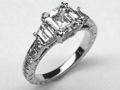 Asscher Diamond Engagement Ring with Trapezoids