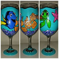 Finding Nemo Inspired Hand Painted Wine Glass by GlassesByNatalie