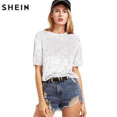 35c9c40ae7 Women s. SHEIN Women Casual T-shirts Summer 2017 Ladies Tops White Short  Sleeve Crushed Velvet T-shirt Round Neck ...