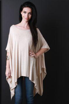 70ae6fcb1f9 Oversized Dolman Handkerchief Top Womens Trendy Tops