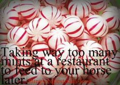 I'm ever so guilty!!!!  Things Equestrians Love... taking way too many mints at a restaurant to feed to your horse later.
