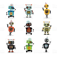 set of cute retro robots to use in your designs royalty-free stock vector art