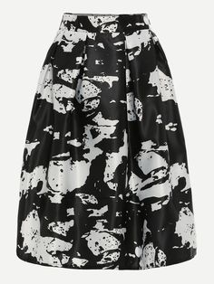 Shop Black White Abstract Print Box Pleated Midi Skirt online. SheIn offers Black White Abstract Print Box Pleated Midi Skirt & more to fit your fashionable needs.