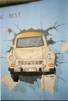 A Trabant crashing through the Berlin Wall - this is the perfect image to commemorate the fall of the wall.