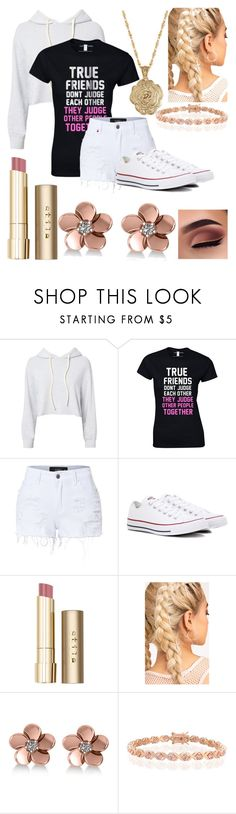 """""""True Friends 😂"""" by lovegymnastics66 ❤ liked on Polyvore featuring Monrow, LE3NO, Converse, Stila, Allurez, Bling Jewelry and 2028"""