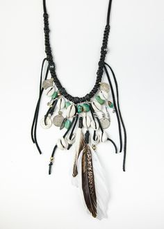 Image of black leather fringe statement necklace by SoulMakes