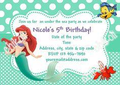 Little Mermaid Invitation Thank You Note Printable Princess