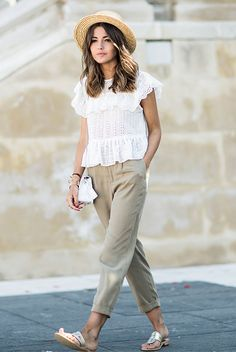 summer outfit, summer vacation outfit, summer getaway outfit, casual outfit, comfy outfit, beach outfit, street style - straw hat, boater hat, white embroidered top, khaki joggers, metallic sandals, white shoulder bag