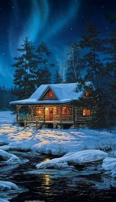 Evening Serenity by Jim Hansel Lake Cabin Print 36x21