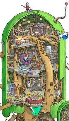 Cut-away illustration of Tree Fort from Adventure Time show. Cut-away illustration of Tree Fort from Adventure Time show. Cartoon Adventure Time, Art Adventure Time, Adventure Time Wallpaper, Adventure Time Characters, Adventure Time Marceline, Adventure Time Princesses, Abenteuerzeit Mit Finn Und Jake, Finn Jake, Cadena Cartoon