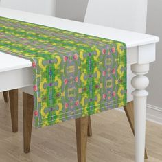 on Minorca by karenspix Mitered Corners, Dinner Napkins, Vanity Bench, Table Runners, Color Splash, Spoonflower, Tablescapes, Home Furnishings, Fabric Design
