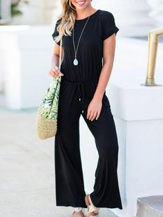 Solid Color Round Neck Loose Jumpsuits-Black / S Black One Piece Jumpsuit, Black Jumpsuit, Jumpsuit Outfit, Casual Jumpsuit, Pantsuits For Women, Jumpsuits For Women, Vogue, Jumpsuit With Sleeves, Fashion Seasons
