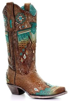Corral Boots~ Tobacco Overlay and Turquoise Eagle Embroidery~ Style – Cowgirl Kim Rodeo Boots, Equestrian Boots, Cowgirl Boots, Western Boots, Riding Boots, Black Leather Shoes, Leather Sandals, Leather Boots, Brown Leather