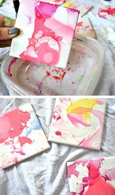 Watercolor Effect Tile Coasters - An Easy DIY With Nail Polish and Ceramic Tiles - Clumsy Crafter A tile dipped into water with nail polish dropped into it makes these beautiful coasters Diy And Crafts Sewing, Crafts To Sell, Fun Crafts, Kids Nail Polish, Nail Polish Crafts, Diy With Nail Polish, Dip Polish, Diy Painting Nails, Diy Décoration