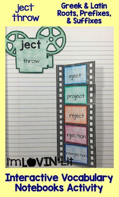 Ject - Throw; Greek and Latin Roots, Prefixes and Suffixes Foldables; Greek and Latin Roots Interactive Notebook Activity by Lovin' Lit