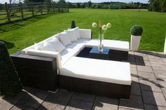 Large Twin Daybed in Dark Brown Rattan with Off White Cushions