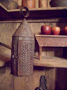 Primitive Punched Tin Lantern...