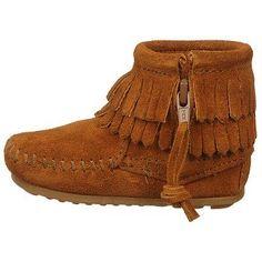 Minnetonka Moccasin Kids' Double Fringe Side Zip Bootie Infant at shoes.com