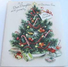 Used-Vtg-Christmas-Card-1950s-Lightly-Embossed-Christmas-Tree