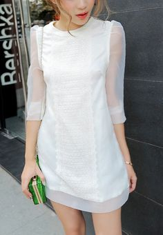 White Long Sleeve Embroidery Lace Straight Dress - Sheinside.com