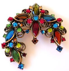 WEISS signed multicolor rhinestone brooch by cherrylippedroses, $145.00