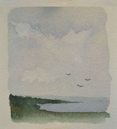 Small Watercolor Abstract Seashore Painting by WaterandHue on Etsy, $29.00
