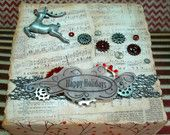 Steampunk Rudolph Christmas Mixed Media Canvas - 5x5