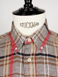 British Plaid Flannel Shirt, Men's Fall Winter Fashion.