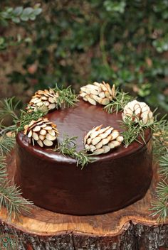 "♥ love the ""almond"" pinecones, rosemary sprigs and the ""stump"" platter (could maybe use just a slice of a stump)"