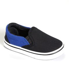 Look at this Rockland Footwear Black & Navy Slip-On Sneaker on #zulily today!