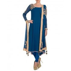 Prussian Blue Suit with Bead Work for Winter Wishlist 2014 - Indian Designer Wear – Indian Ethnic Clothes – Ethnic Dresses of India – Fashion Wear of India - #Style #Gorgeous #Stunning  #Chic – Buy Indian Traditional Dresses for Women Online at #ExclusivelyIn – #Shop Saris, Salwar Kameez, Lengha, Jewelry, Accessories Online for #Holiday #Shopping
