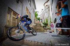 Great action photo Urban DH racing.